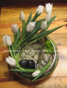 Tulips in the River: Tulips and willow with a stone accent in a low dish. (another anniversary arrangement)