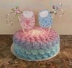 Ombre gender reveal cake.