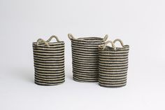 Tall Round Striped Basket Natural