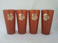Set of 4 Rust Orange Mushroom Tumblers by vintapod on Etsy, $15.00