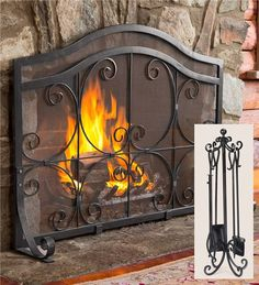 Large Crest Fireplace Screen With Doors And Tool Set this one also ...