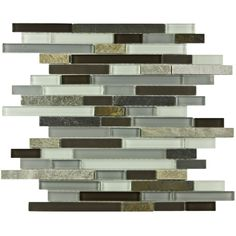 SomerTile Reflections Piano Tundra Glass/Stone Mosaic Tile (Pack of 10) | Overstock.com