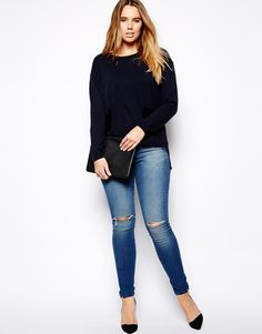 ASOS CURVE | Ridley Skinny In Mid Wash With Ripped Knee