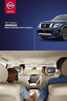 "The all-new 2017 Nissan Armada delivers a bold message wherever it goes.   Watch movies, play video games, and even play your camcorder through the USB inputs on the available Nissan Tri-Zone Entertainment System's 7"" head-restraint-mounted monitors."