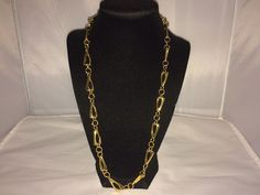 VTG. CROWN TRIFARI SHINY GOLD TONE ART DECO CHUNKY CHAIN LINK NECKLACE~  | eBay