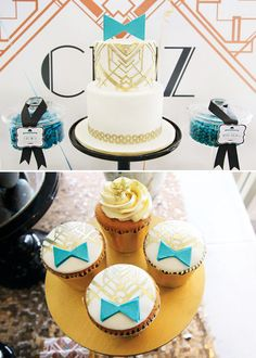 Art deco painted cake & cupcakes (love the little bow ties!) Great Gatsby Themed Party, Art Deco Cake, Banquet Decorations, Healthy Snacks For Adults, Casino Cakes, Painted Cakes, Dinners For Kids, Cooking With Kids, Baby Shower Themes