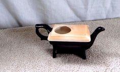 "Vintage Black teapot creamer, porcelain, from Giftco Inc, 5-3/4"" long"