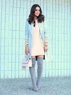 Look of the day: Pink and Gray Dior Boots Trending Dior Boots. - Look of the day: Pink and Gray Dior Boots Trending Dior Boots. Outfits 2016, Warm Outfits, Stylish Outfits, Pink Fashion, Love Fashion, Winter Fashion, Womens Fashion, Fashion Edgy, Stuart Weitzman