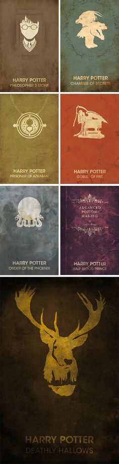 Here are a range of minimalist book covers of the seven part story of Harry Potter. I like the effect of these covers because they are really simple because of how the artist has used just on simple element of the story that portrays what the story is about.