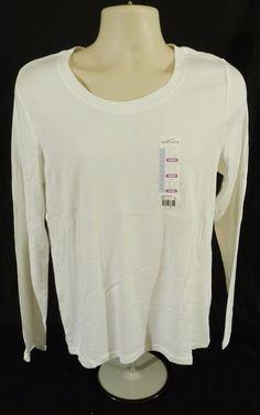 Eddie Bauer Long Sleeve T Shirt Scoop Neck Bright White L #EddieBauer #LongSleeveTee