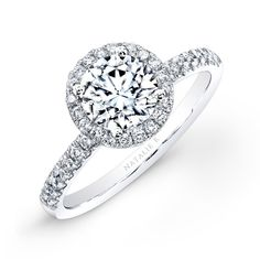 NK26235-W | 18k White Gold Pave Diamond Halo Engagement Ring #Eternelle