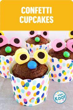 Confetti is zo vrolijk, dat is echt een feestje. Maak daarom ook je taart en traktaties op je kinderfeestje met confetti! Confetti Cupcakes, Breakfast, Blog, Morning Coffee, Blogging