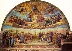 Dispuut van het Heilig Sacrament - Rafaël Santi - Stanza della Segnatura - De kerk verbind hemel en aarde.