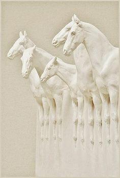 'Magic of Horses' by British-born sculptor/artist Susan Leyland. via equine sculptures Horse Sculpture, Animal Sculptures, Ceramic Animals, Ceramic Art, Statues, Art Picasso, Louise Nevelson, Art Ancien, Art Et Illustration