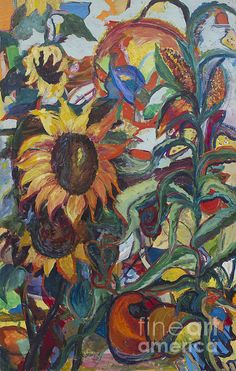 Sunflowers is a signed, 48x36 inch acrylic on canvas, by the late Avonelle Kelsey (1931-2009).  *For all of 2015 100% of the profits from the Avonelle Kelsey Gallery print sales will automatically be donated to Hundehilfe Thailand.