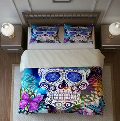 Sale Sugar Skull Bedding, Duvet Cover Set, Butterfly Burst KING 2 Shams IN STOCK Ready To Ship