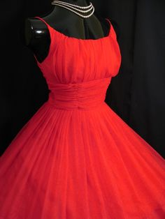 50s shaffon red Dress | 50s Bombshell RED Ruched Chiffon Organza Party Prom Valentine DRESS ...