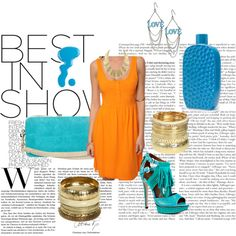 Aqua Combo and Pop of Orange, created by rssoftball on Polyvore