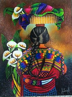 Antonio Morales -- Espalda with Lilies Mexican Artwork, Mexican Paintings, Mexican Folk Art, Guatemalan Art, Latino Art, Mexican Textiles, Mexican Heritage, Mexican Artists, Chicano Art