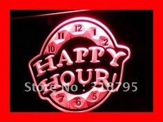 i257 HAPPY HOUR Beer Bar Pub Club NEW LED Neon Light Sign On/Off Switch 7 Colors 4 Sizes