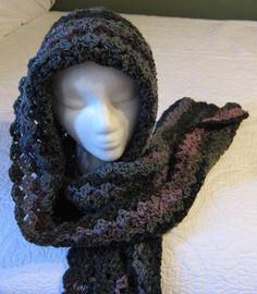 Crochet Hooded Scarf/Multi Color Dk GreenOlive by Kitkateden, $22.00
