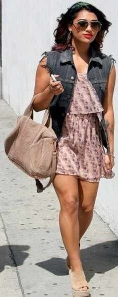 Denim vest with pink floral dress