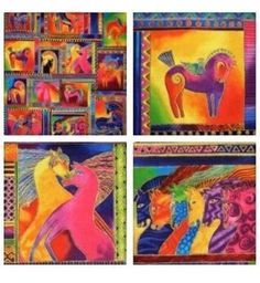 LAUREL BURCH Dancing Horses FABRIC PANEL13 Framed Boxes Bright Horse Rare OOP | Crafts, Fabric | eBay!
