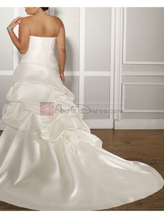 Couture A-line Court Train Strapless Sleeveless Satin Plus Size Wedding Dress for Cheap