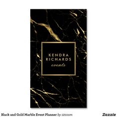 Black and Gold Marble Event Planner Double-Sided Standard Business Cards (Pack…