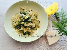 Farfalle e zucchine con crema al basilico