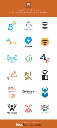 2014 LogoLounge Trend Report Collection - Wave logos With the wifi symbol so prevalent in today\'s society, these logos feature radiating lines that viewers can instantly connect it\'s reference to the internet. #logos #LogoLounge #2014