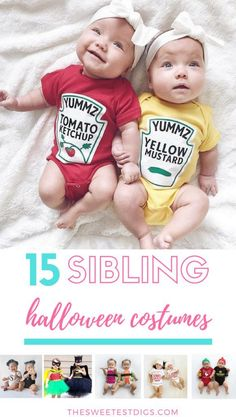 Sibling halloween co Sibling halloween costume ideas. Dress up brothers and sisters in these cute matching outftis! Twin Girls Halloween, Brother Sister Halloween, Halloween Kids, Brother Sister Costumes, Halloween 2019, Halloween Costumes For Sisters, Matching Halloween Costumes, Cute Halloween Costumes, Twin Costumes