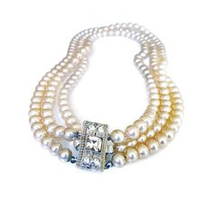 Pearl Necklace, Rhinestone Clasp, Polished Pearls, Glass Pearls, Choker Necklace, Vintage Jewelry by zephyrvintage on Etsy