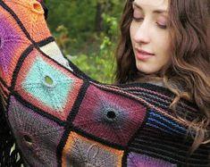 """Knit wool shawl - varicoloured handmade shawl - knitted shawls - hand knit shawl - big knitted kerchief - triangular knit shawl """"Оecumene"""""""