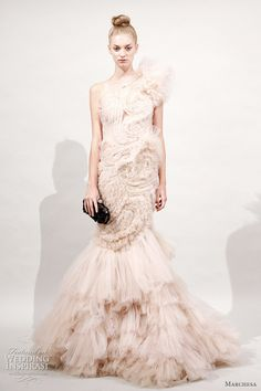 Marchesa Spring 2011 ready-to-wear collection - beautiful one-shoulder ruffle gown
