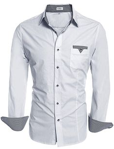 df2dfce1b92 HOTOUCH Mens Fashion Slim Fit Contrast Long Sleeve Casual Button Down  Shirts Dress Shirts at Amazon