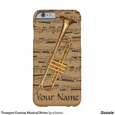 Trumpet Custom Musical Notes phone case  with your name printed on it. Available for recent iPhone and Samsung models.