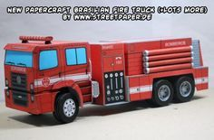 Paper Fire Engine Model | 3D Paper Car, Truck, Bus, trolley + Accessories on Pinterest | Paper ...