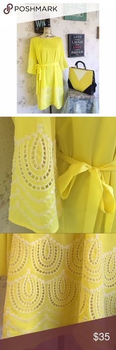 """Summer Sale 💥Yellow Gianni Bini Dress """"Miss Daisy"""" NWOT Gianni Bini Dress. Never been worn. Very flattering. This dress will compliment a darker hair and complexion. I'll add more details soon Gianni Bini Dresses"""