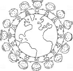 Children round the Globe, black and white outline Kinder rund um den Globus, Kontur - Lizenzfrei 201 Earth Day Coloring Pages, School Coloring Pages, Colouring Pages, Coloring Pages For Kids, Coloring Sheets, Globe Outline, Harmony Day, Cultures Du Monde, Diy And Crafts