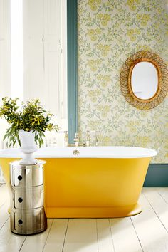 The Stitch in Highland Humber freestanding bath from Drummonds, Kartell Componibili storage unit Little Greene Paint, Little Greene Farbe, Peinture Little Greene, Yellow Baths, Yellow Bathrooms, Cheap Bathrooms, Comedor Office, Trim Paint Color, Painting Trim