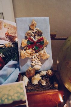 Coastal Christmas Tree made from shell.. It doesnt really look like one, but im glad it fit in