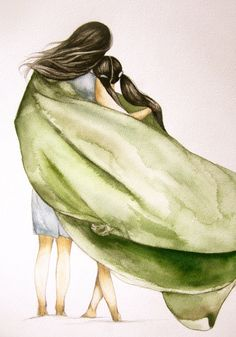 Mother and daughter with green blanket art by Claudia Tremblay