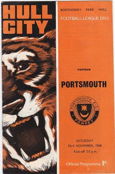 Items similar to Vintage Football (soccer) Programme - Hull City v Portsmouth, season on Etsy Football Program, Vintage Football, Football Season, Football Soccer, Soccer Art, Sports Signs, Hull City, Everton Fc, Middlesbrough