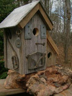 Coastal   Primitive Birdhouse Slate Roof by Birdhousesandbuds, $99.00