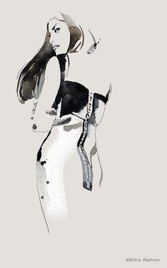 Fashion illustration - arty fashion drawing // Ellie Rahim