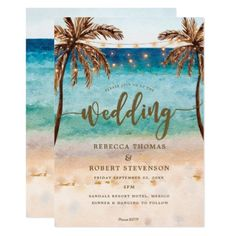 #tropical beach scene modern wedding invitation - #weddinginvitations #wedding #invitations #party #card #cards #invitation #beach