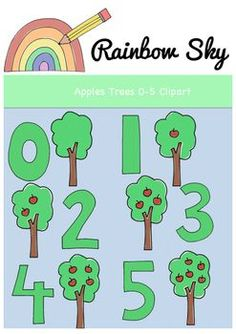 Teaching number 0 - Need some variety? Here are some apple trees clipart to help with counting up to Perfect to use for creating worksheets or activity cards. With a total of 12 pieces in the set it includes: Tree Clipart, Teaching Numbers, Rainbow Sky, Apple Tree, Teaching Resources, Counting, Apples, Worksheets, Commercial