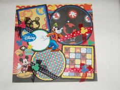Disney Mickey Mouse 12x12 Premade Scrapbook Page by KARI on Etsy, $12.99