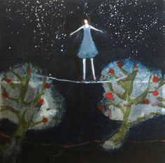 BETWEEN, an original mixed media painting on 10x10 inch cradled panel by Jeanie Tomanek. Oil, collage, and handmade stamps on panel mounted on 1 1/2 inch wide wooden cradle. Sides painted black, wired and ready to hang at EverywomanArt on Etsy. Our little gal is betwixt and between beneath the starry night sky. We've all been there.